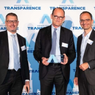 Chistophe Babule, CFO, receives the Grand Prix de la Transparence